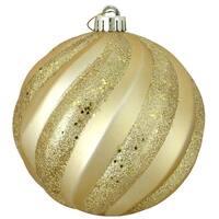 """Vegas Gold Glitter Swirl Shatterproof Christmas Ball Ornament 6"""" (150mm)"""
