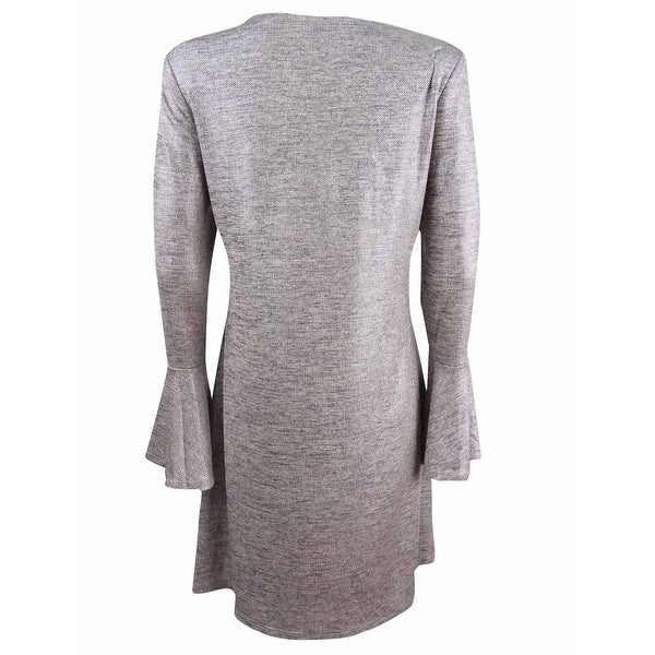 Connected WOMENS  Bell-Sleeve Metallic Shift Dress TAUPE//SILVER