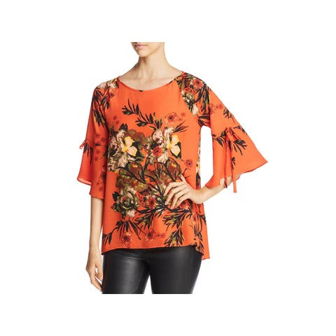Status by Chenault Womens Blouse Floral Tie-Sleeve