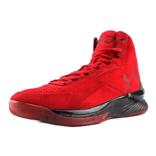 Under Armour Curry 1 Lux Mid Men Round Toe Suede Red Basketball Shoe