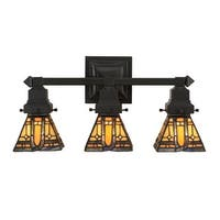 """Meyda Tiffany 153627 Sierra Prairie Mission 3 Light 20"""" Wide Hand-Crafted Wall Sconce with Stained Glass - Mahogany Bronze"""