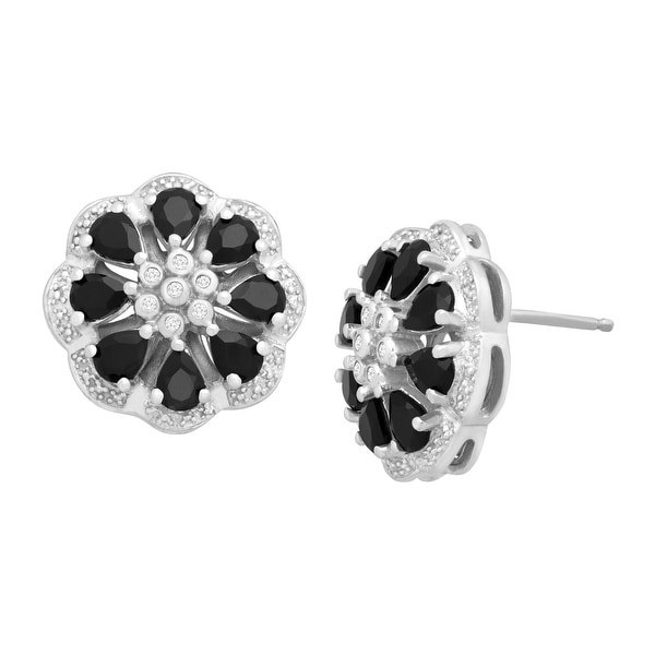 1 5/8 ct Natural Onyx Flower Studs with Diamonds in Sterling Silver - Black