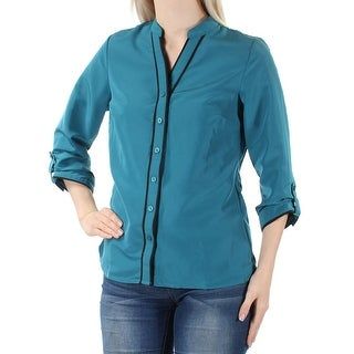 NY COLLECTION Womens Blue Cuffed V Neck Button Up Top Petites Size: S