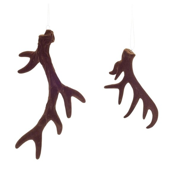 """Pack of 12 Brown Rustic Velvety Reindeer Antler Christmas Ornaments 7""""-11"""""""