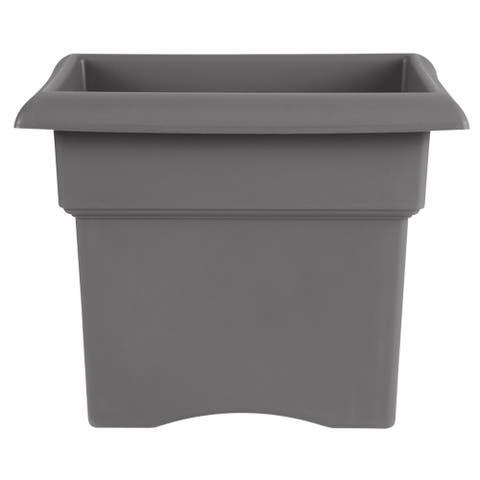 "Bloem Veranda Deck Box Planter Square 14"" Charcoal Gray - 14"