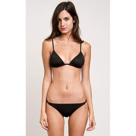 RVCA Women's Doomed Geo Triangle Bikini Top, Black, Medium
