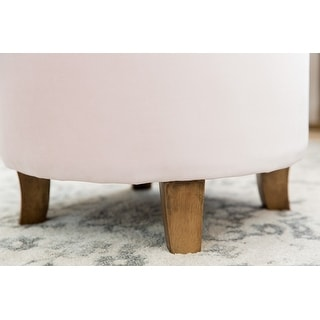 Homepop Velvet Tufted Round Storage Ottoman - Pink Blush