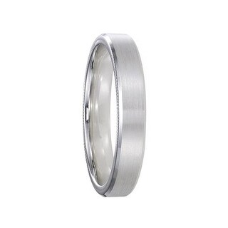 ELLIOT 14k White Gold Wedding Band Satin Brushed Center with Beveled Coin Edges by ArtCarved - 4mm