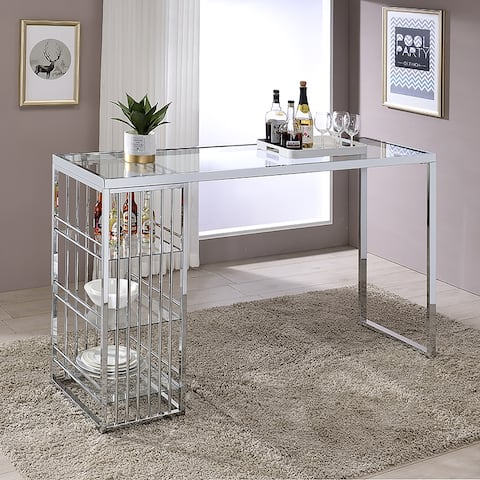 Furniture of America Marburry Contemporary Chrome 65-inch Bar Table