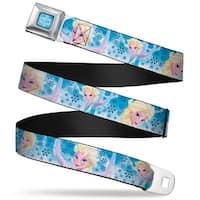Frozen Logo Full Color Blues Frozen Elsa Poses Snowflake Swirls Blues White Seatbelt Belt