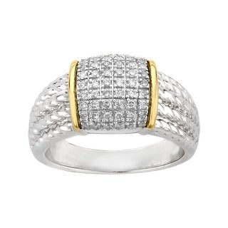 1/4 ct Diamond Pavé Ring in Sterling Silver and 14K Gold