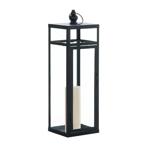 Home Large Black Dramatic Geometry Lantern