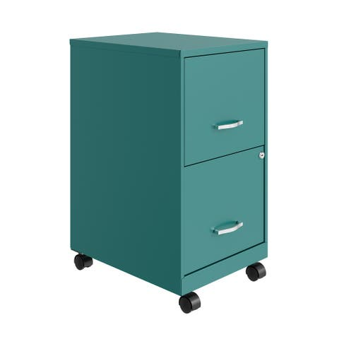 "Space Solutions 18"" 2 Drawer Mobile Smart Vertical File Cabinet, Teal"
