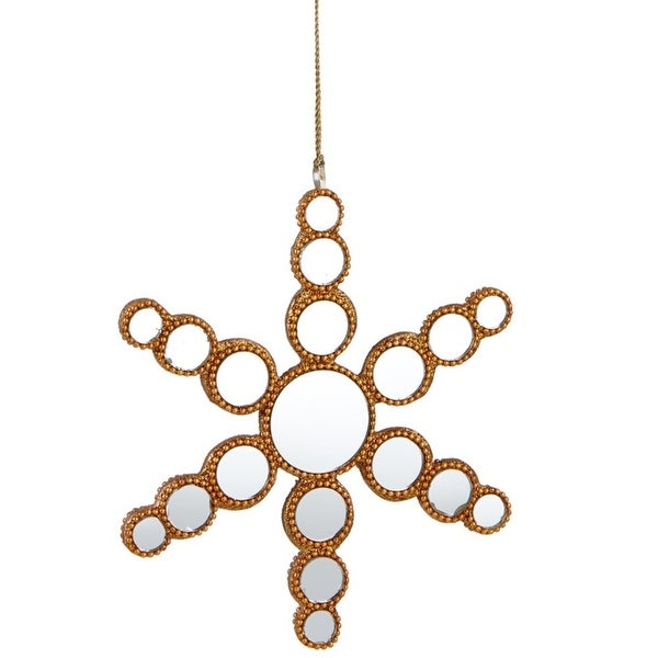 """6.25"""" Glamour Time Gold Beaded Mirrored Circles Snowflake Christmas Ornament"""