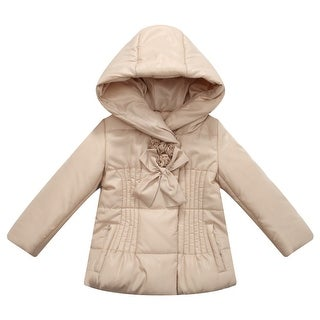 Richie House Little Girls Beige Padded Rosette Bow Accents Hooded Jacket 1-6