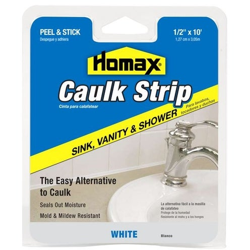 Homax 34038 Wall & Counter Caulkstrip, White, 10'
