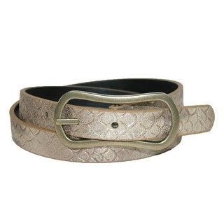 PGA TOUR Women's Reversible Snake Print to Solid Golf Belt (Option: Gold)