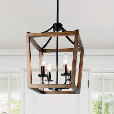 Modern 4-Light Wood Lantern Chandelier Light - N/A