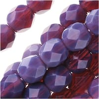 Czech Fire Polished Glass Beads 6mm Round - Opal Amethyst (25)