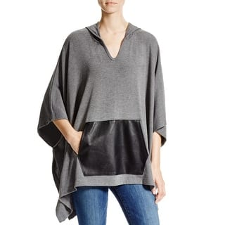 Karen Kane Womens Cape Sweater Mixed Media Faux Leather - L (Option: Grey)|https://ak1.ostkcdn.com/images/products/is/images/direct/4b36b5e484cce2f5301a2dae25c912c522b2f7bb/Karen-Kane-Womens-Cape-Sweater-Mixed-Media-Faux-Leather.jpg?impolicy=medium