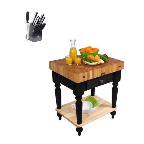 John Boos CUCR 30x24 Butcher Block with Shelf & Henckels Knife Set
