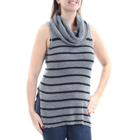 ULTRA FLIRT Womens Gray Slitted Knitted Striped Sleeveless Cowl Neck Top Size: L