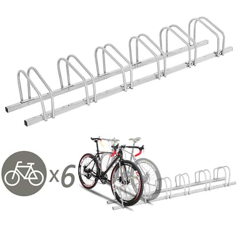 Gymax 6 Bike Bicycle Stand Parking Garage Storage Cycling Rack Silver