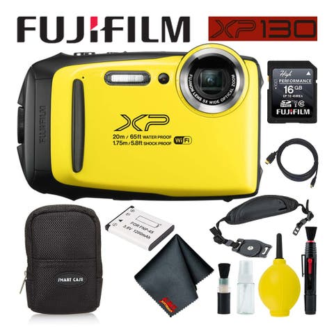 FujifilmFinePix XP130 Waterproof Digital Camera 600019828 (Yellow) Best Value Ac - Best Value with Soft Case