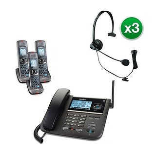 Uniden DECT4096-3 with Headset 2-Line DECT 6 Corded/Cordless Phone