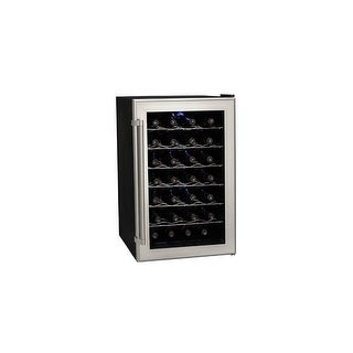 """Koldfront TWR282 18"""" Wide 28 Bottle Wine Cooler with Thermoelectric Cooling - Silver on Black - N/A"""