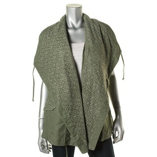 My Michelle Womens Asymmetric Lace Overlay Casual Vest - M