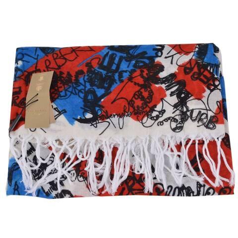"Burberry Silk Cotton Blue Doodle Graffiti Logo Large Square Scarf Shawl - 50"" x 50"""