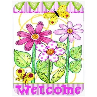 Carolines Treasures Flower Welcome Glass Cutting Board, Large
