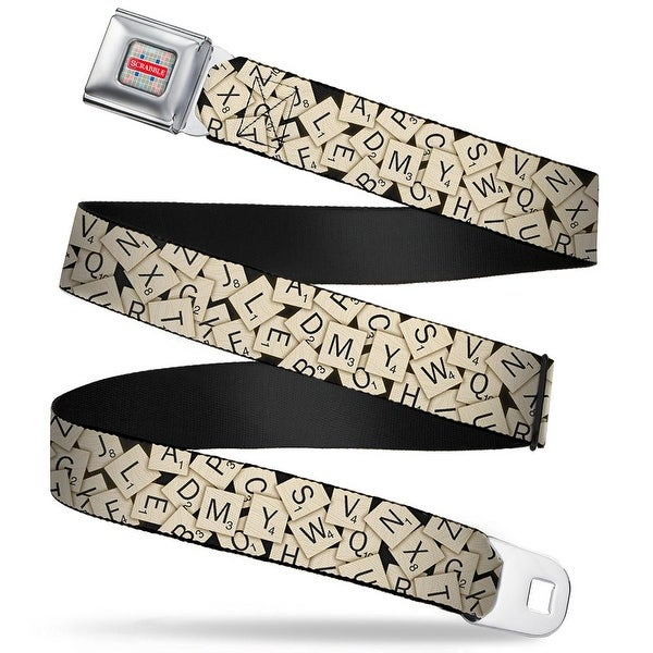 Scrabble Logo Full Color Grays Reds Blues White Scrabble Tiles Stacked Seatbelt Belt