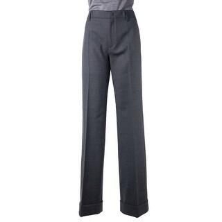 Prada Womens Solid Grey Pleated Wool Blend Cuffed Wide Leg Pants