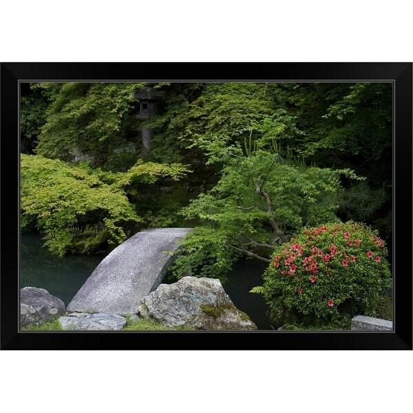 """Stone bridge in Shoren-in temple zen gartden"" Black Framed Print"
