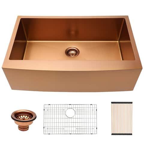 Lordear 33 Inch Farmhouse Kitchen Sink Apron-Front Matte Bronze 16 Gauge Stainless Steel Deep Single Bowl Kitchen Farm Sink