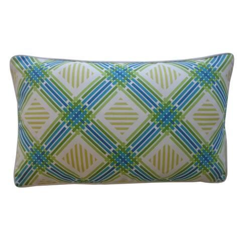 Jiti Green Diamond Traditional Sunbrella Outdoor Pillows - 12 x 20