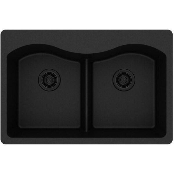 "Elkay ELGLB3322 Harmony 33"" Double Basin Granite Composite Kitchen Sink for Drop In Installations with 50/50 Split, 5"