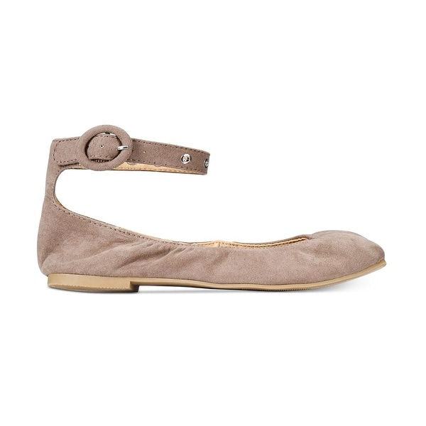 Material Girl Womens Francy Fabric Closed Toe Ankle Strap Ballet Flats