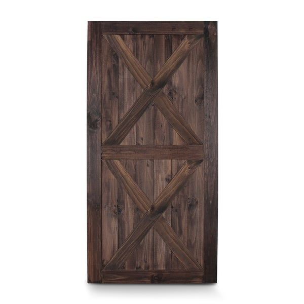 BELLEZE 42in x 84in Double X Sliding Barn Door Unfinished Solid Knotty Pine Wood Single Door DIY Easy Assemble, Espresso