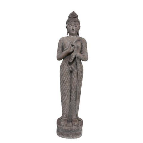 """Polyresin 61"""" Standing Buddha, Gray"""