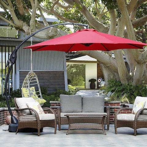 Aluminum Patio Cantilever Umbrella with Base