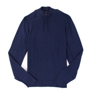 Alfani Navy Blue Mens Size Large L 1/4 Zip Ribbed Panel Knit Sweater