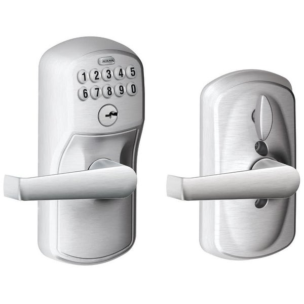 Schlage FE595-PLY-ELA Plymouth Keypad Entry Door Lever Set with Elan Lever and Flex Lock Capabilities - Satin Chrome