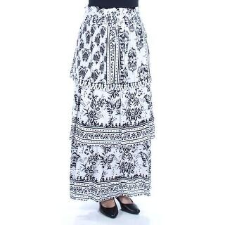Womens Ivory Black Maxi Peasant Skirt Size S
