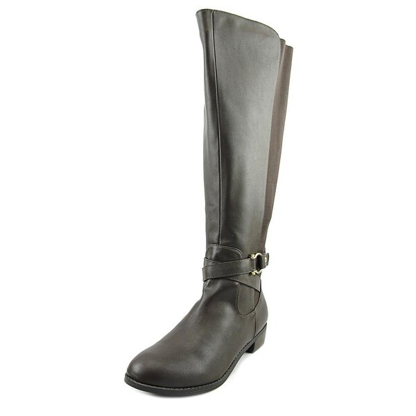 Karen Scott Davina Wide Calf Women Round Toe Synthetic Brown Knee High Boot