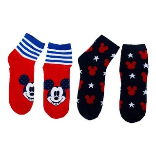 Disney Women Mickey Mouse 4th of July Ankle Socks 2-Pack Red/Blue/Navy 4-10