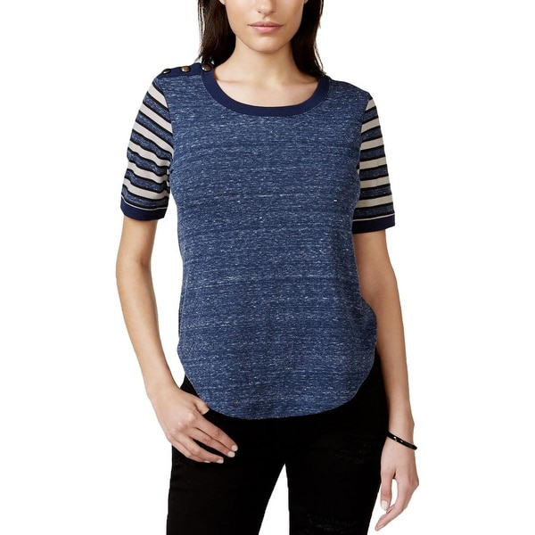 Sanctuary Womens Pullover Top Metallic Shoulder Heathered