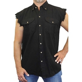 Men's Basic Sleeveless Denim Shirt Biker Vest 2 Front Pockets Button-Up